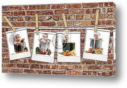 Baby Chefs in Pots Hanging on Film Blanks Against Brick