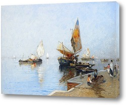 Прибрежный пейзаж с лодки в закат