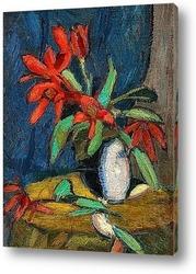 Постер Красные Цветы в Белом Кувшине