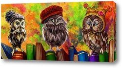 Картина Совы и книги