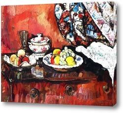 Натюрморт с яблоками и фруктами в голубой вазе