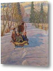 Картина Дети на санях