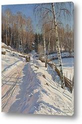 Зимний пейзаж освещенный солнцем