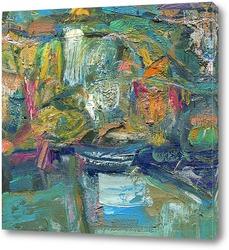 Картина пейзаж с лодкой