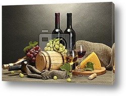 Постер Barrel, bottles and glasses of wine, cheese and ripe grapes