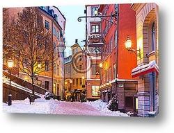 Постер  Зима в Старом Городе, в Стокгольме, Швеция