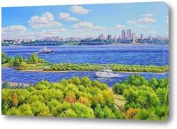 Картина Самара. Вид с правого берега.