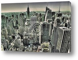 Midtown (West Side) Manhattan at night (panoramic photo made of