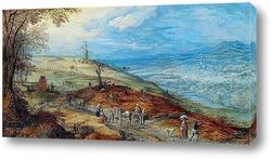 Постер Пейзаж с путниками