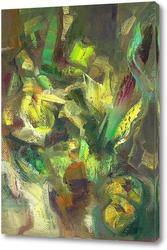 Картина абстракция и яблоки
