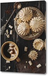 Постер Безе с кофе в винтажном стиле.