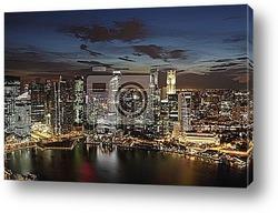 Постер Центр города-горизонт Сингапура в сумерках