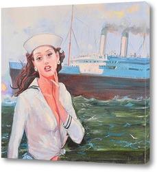Картина Девушка у корабля