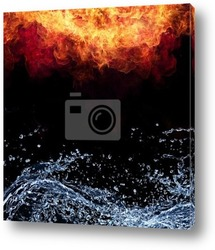 Beautiful stylish fire flames reflected in water