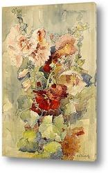 Розы в голубой вазе на столе с зеркалом