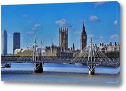 Пейзаж Биг-Бена и Вестминстерского дворца с мостом
