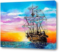 Постер Корабль на рассвете