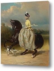 Мария-Антуанетта в женском костюме на лошади