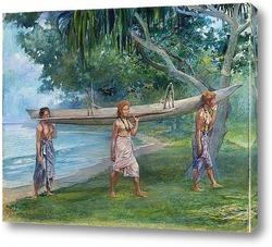 Постер Девушки, несущие каноэ, Вайала в Самоа
