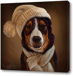 Картина Собака в шапке