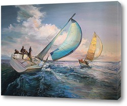 Постер Парусники на море