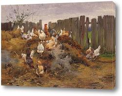 Картина Курицы во дворе