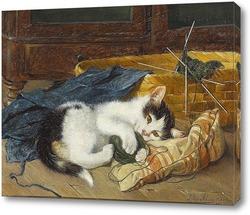 Картина Играя с мячом шерсти ,котенок на голубом одеяле