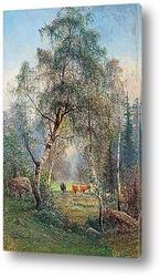 Постер Летний пейзаж с коровами