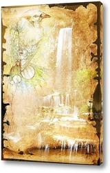 Постер Птичка на фоне водопада