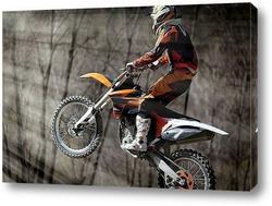 Постер Мотоциклист в прыжке