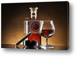 bottle and glass of brandy and cigar on brown background