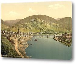 Постер Бернкастель и Бург Ландсхут, Мозель долина, Германия. 1890-1900 гг