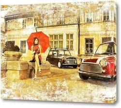 Постер Ретро город