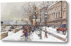 Мост Пон-Нёф в снегу