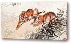 Постер Тигры в кустах
