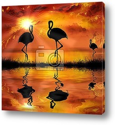 Постер Flamingo  on a beautiful sunset background