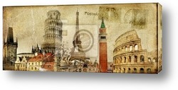 Постер Vintage postal card - ruropean holidays