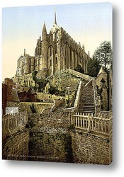 Постер Аббатство, Мон-Сен-Мишель, Франция. 1890-1900 гг