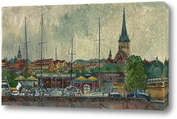 Картина вид на старый Таллин в дождь