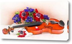 Постер С анемонами и скрипкой