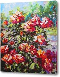 Постер Красные розы в саду