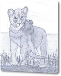 Картина Львица с львенком