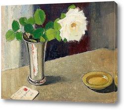 Натюрморт с белой розой и письмом