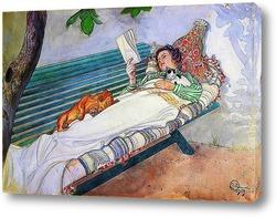 Женщина, Лежащая на Скамье