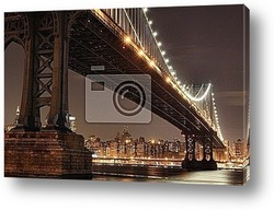 Постер New York City Skyline and Manhattan Bridge At Night