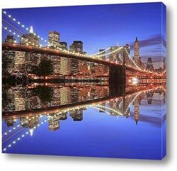 Нью-Йорк, бруклинский мост ночью