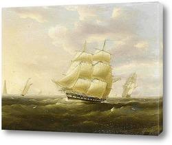 Постер Вританский фрегат плывет вниз по каналу в свежий день мимо маяка