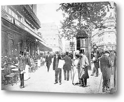 Рабочий пьющий чай на краю доски, Лондон 1910г.