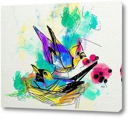 Акварельные пташки