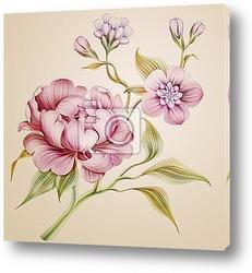 Постер Весенние цветы и листья